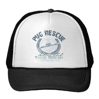 Pug Rescue Yacht Club Grunge Distressed Vintage Mesh Hats