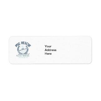 Pug Rescue Yacht Club Grunge Distressed Vintage Return Address Label