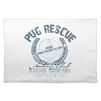 Pug Rescue Yacht Club Grunge Distressed Vintage Placemat