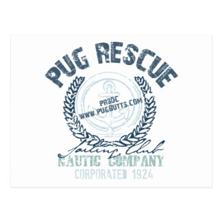 Pug Rescue Yacht Club Grunge Distressed Vintage Postcard