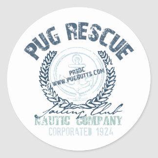 Pug Rescue Yacht Club Grunge Distressed Vintage Stickers