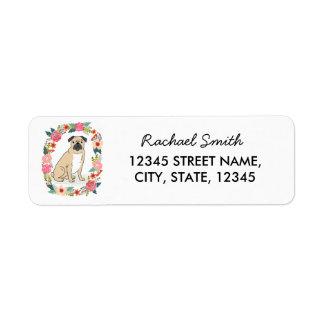 Pug return address label, cute girly flowers label