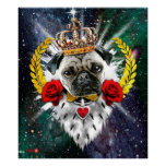 Pug rey the with Crown + Habla Roses Impresiones