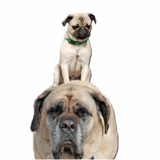 Pug Riding Mastiff Cut-out Sculpture Standing Photo Sculpture