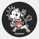 Pug Rocker Round Stickers