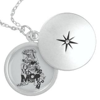 Pug Round Locket Necklace