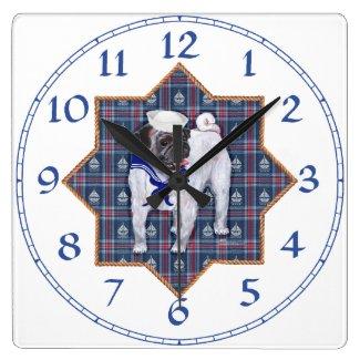Pug Sailor Square Wall Clock