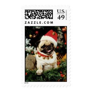 Pug Santa Christmas Stamp
