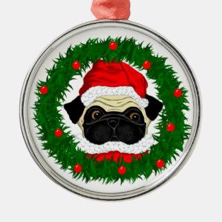 Pug Santa Round Metal Christmas Ornament
