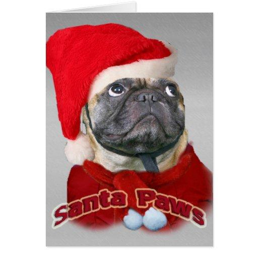 pug santa paws card