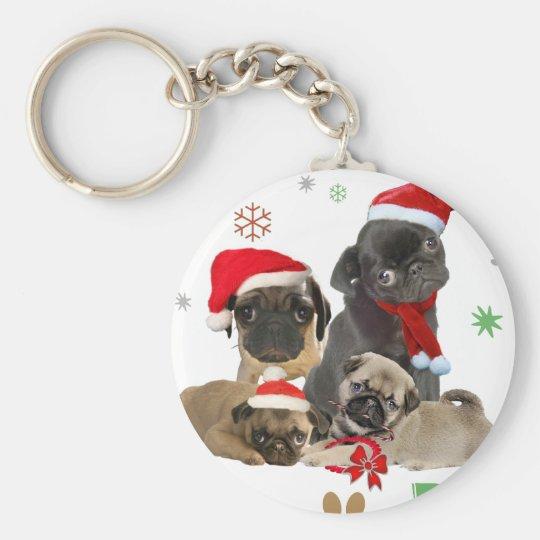 Pug Santa Paws Keychain