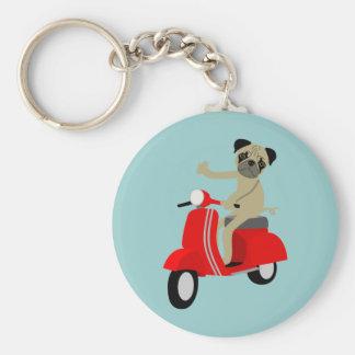 Pug Scooter Basic Round Button Keychain
