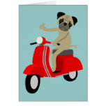 Pug Scooter Greeting Cards
