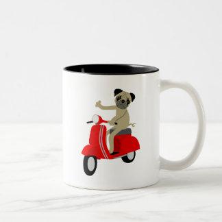 Pug Scooter Two-Tone Coffee Mug