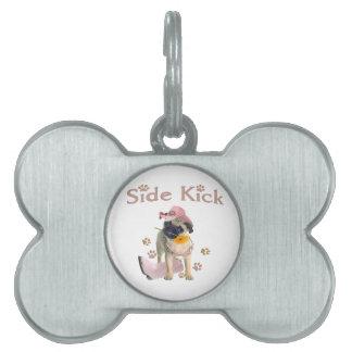 Pug Side Kick Pet Name Tag