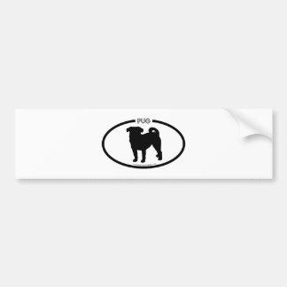 Pug Silhouette Black Bumper Sticker Car Bumper Sticker
