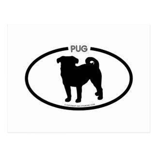 Pug Silhouette Black Postcard