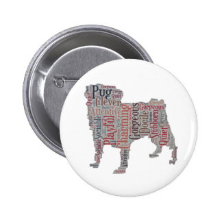 Pug silhouette colourful words button
