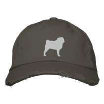 Pug Silhouette Embroidered Baseball Cap