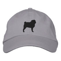 Pug Silhouette Embroidered Baseball Hat