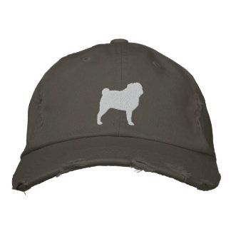 Pug Silhouette Embroidered Hat