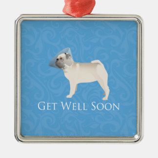 Pug Silhouette Get Well Soon Design Metal Ornament