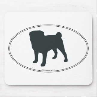 Pug Silhouette Mouse Mat