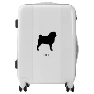 Pug Silhouette Personalized Luggage