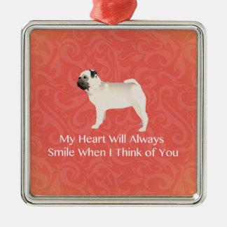 Pug Silhouette Thinking of You Design Metal Ornament