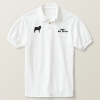 Pug Silhouette with Optional Customizable Text Polo