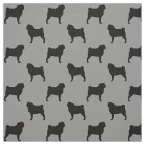 Pug Silhouettes Pattern Fabric