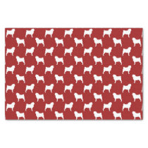 Pug Silhouettes Pattern Red Tissue Paper
