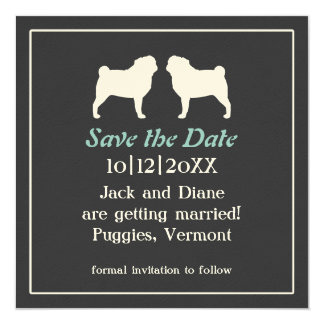 "Pug Silhouettes Wedding Save the Date Invitation 5.25"" Square Invitation Card"