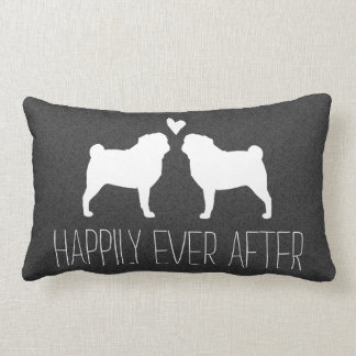 Pug Silhouettes with Heart and Text Pillow