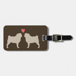 Pug Silhouettes with Heart and Text Tag For Bags