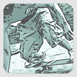 Pug Skater Square Sticker