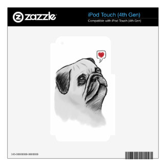Pug Sketch Decal For iPod Touch 4G