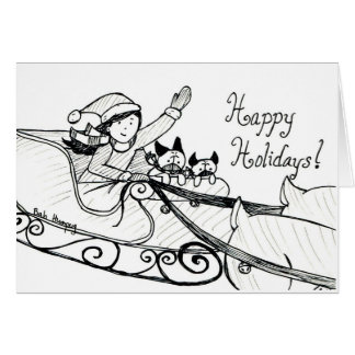 Pug Sleigh Ride Card