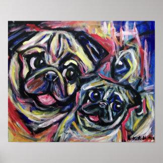 Pug Smile Abstract Poster