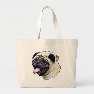 Pug smudge art large tote bag
