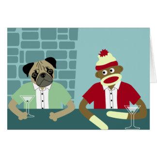 Pug & Sock Monkey Card