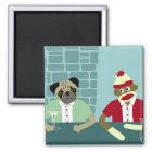 Pug & Sock Monkey Magnet