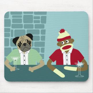 Pug & Sock Monkey Mouse Pad