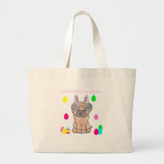 Pug Somebunny Loves Me Jumbo Tote Bag