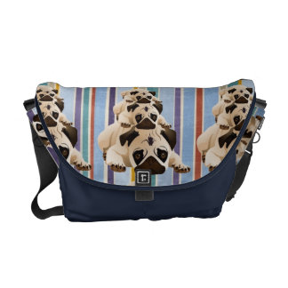 Pug Stacks on Stripes Courier Bags