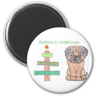 Pug Stick Tree Magnet