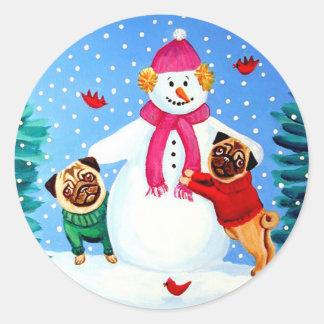 Pug Stickers Frosty's Helpers