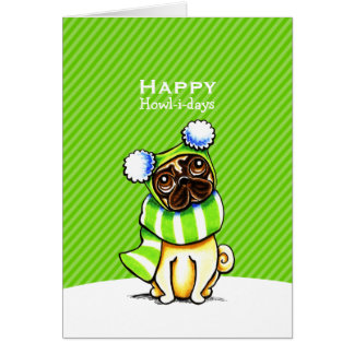 Pug Striped Scarf Christmas Green Custom Card