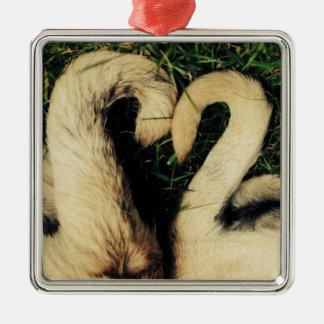 Pug Tails Square Metal Christmas Ornament