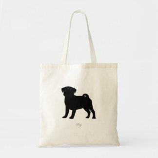 Pug Tote Bag (black version 2)